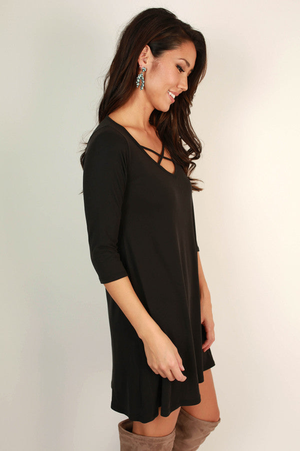 Dare To Dance Shift Dress in Black
