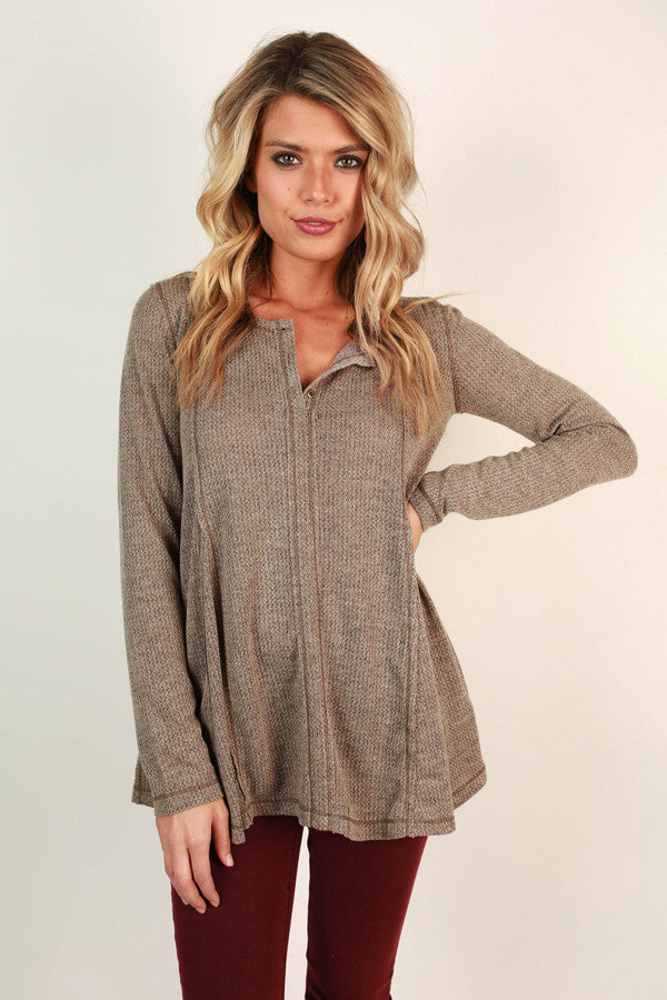 Wake Up Call Henley Top in Taupe