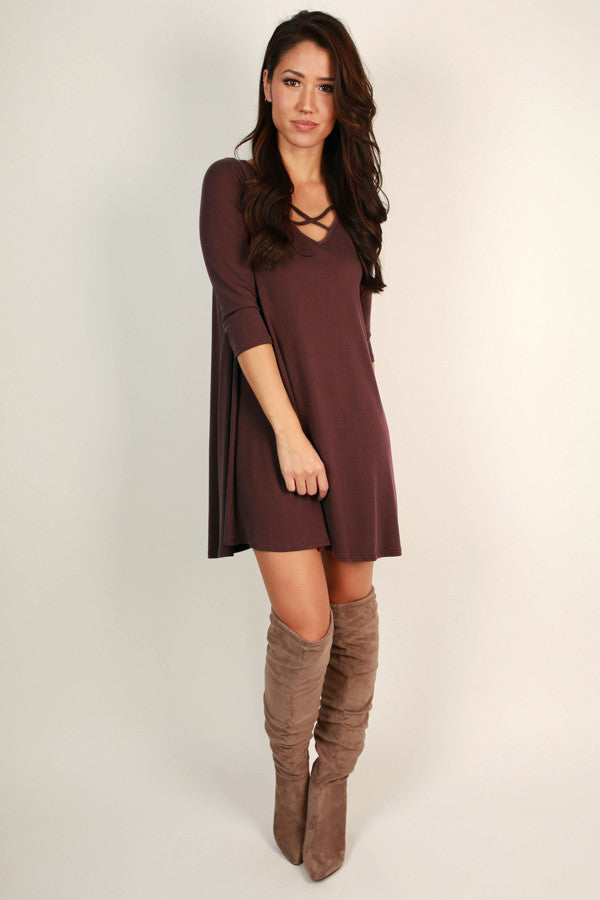 Dare To Dance Shift Dress in Maroon