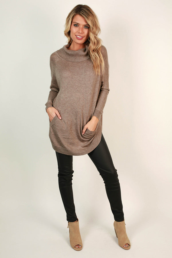 Meet Me In Montreal Tunic Sweater in Mocha