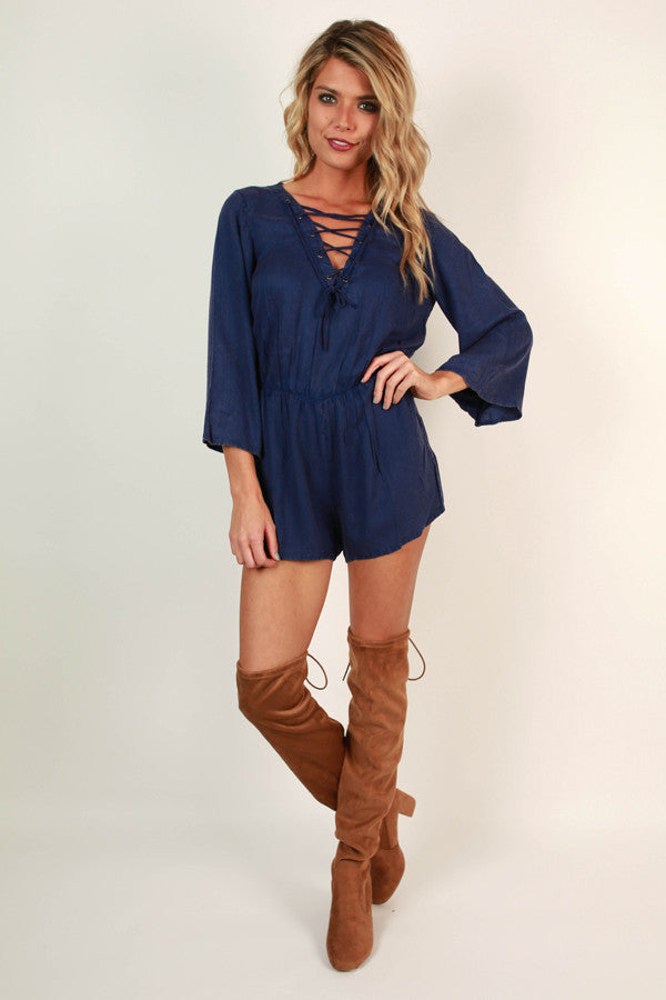 Babe In Blue Lace Up Romper