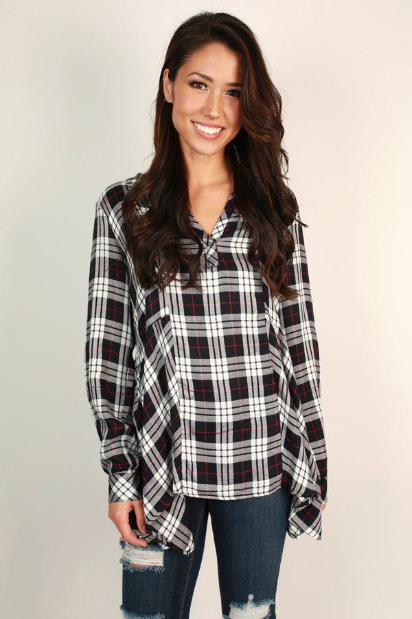 Check Mate Chic Plaid Top in White