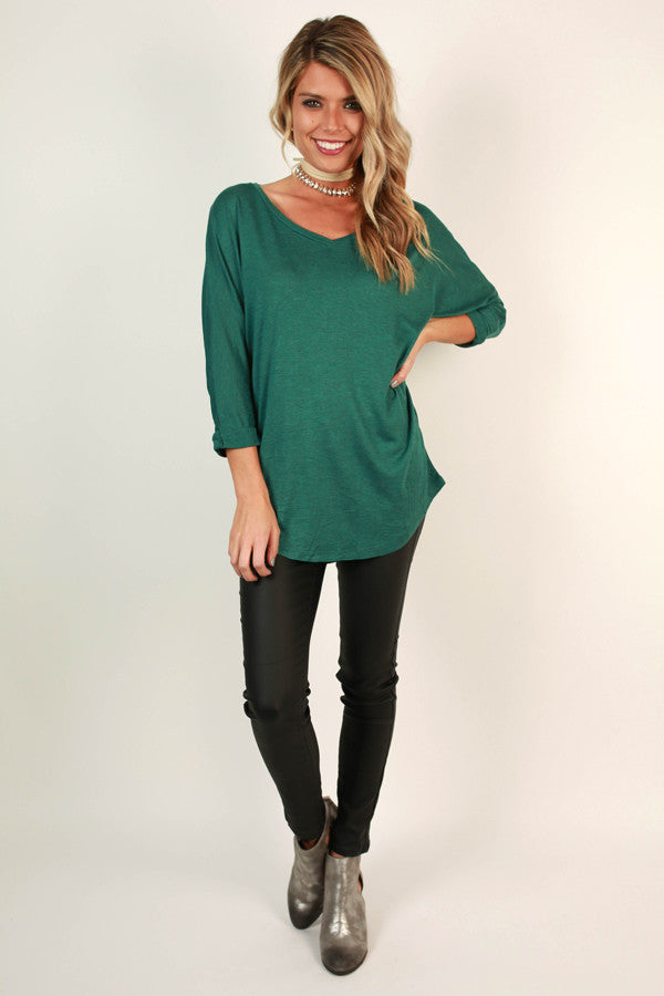My Time Is Yours Tunic in Dark Emerald