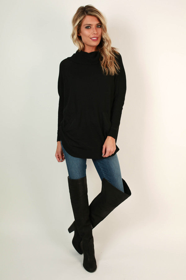 Meet Me In Montreal Tunic Sweater in Black
