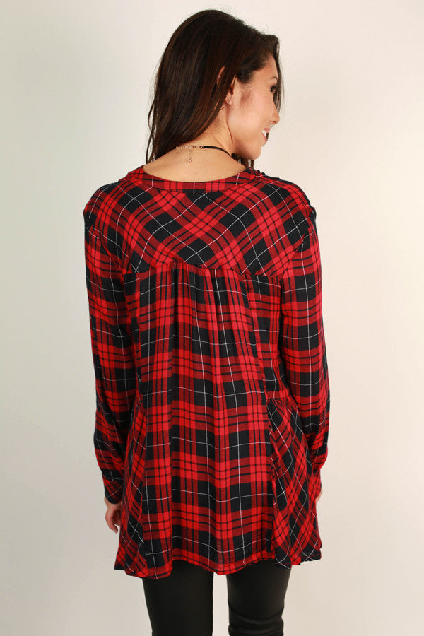 Check Mate Chic Plaid Top in Red