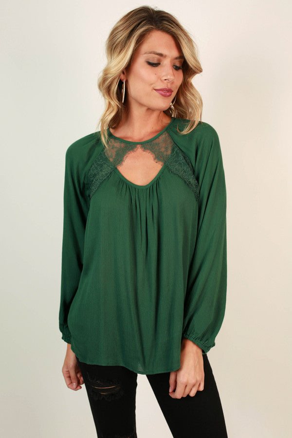 Romance In Soho Shift Top in Dark Emerald