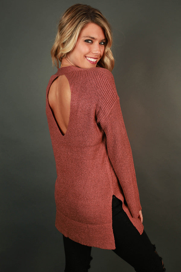 Lucky Me Cut Out Sweater In Rustic Rose