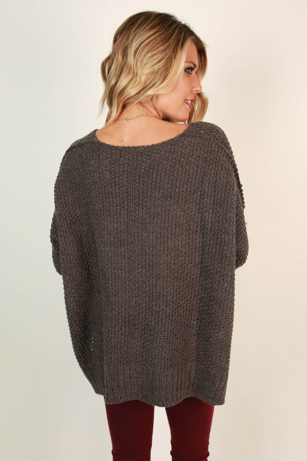 Mocha Latte Cuddles Sweater in Charcoal