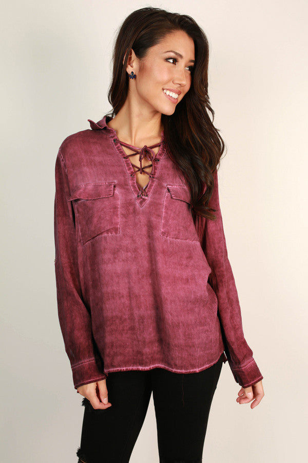 Countdown To Happy Hour Lace Up Tunic in Sangria