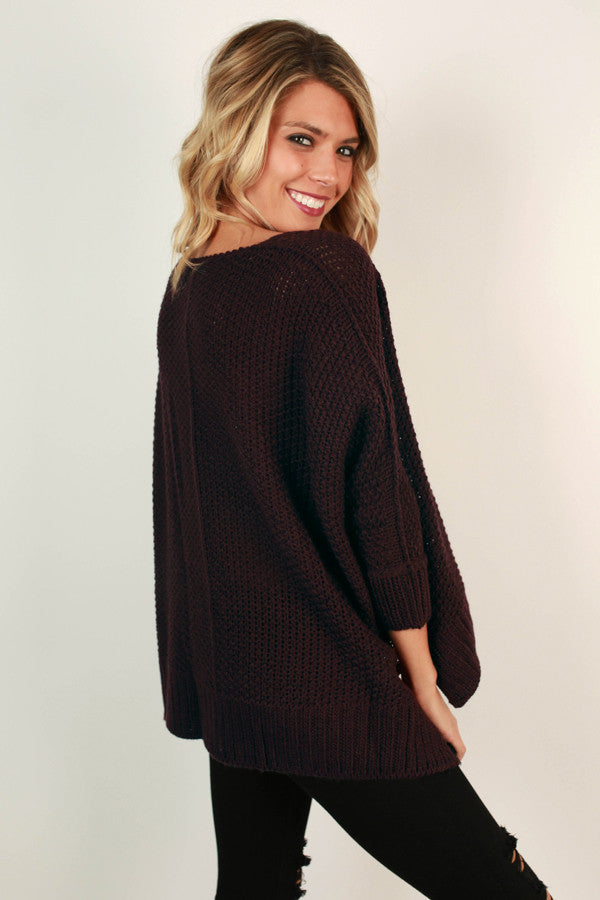 Mocha Latte Cuddles Sweater in Windsor Wine