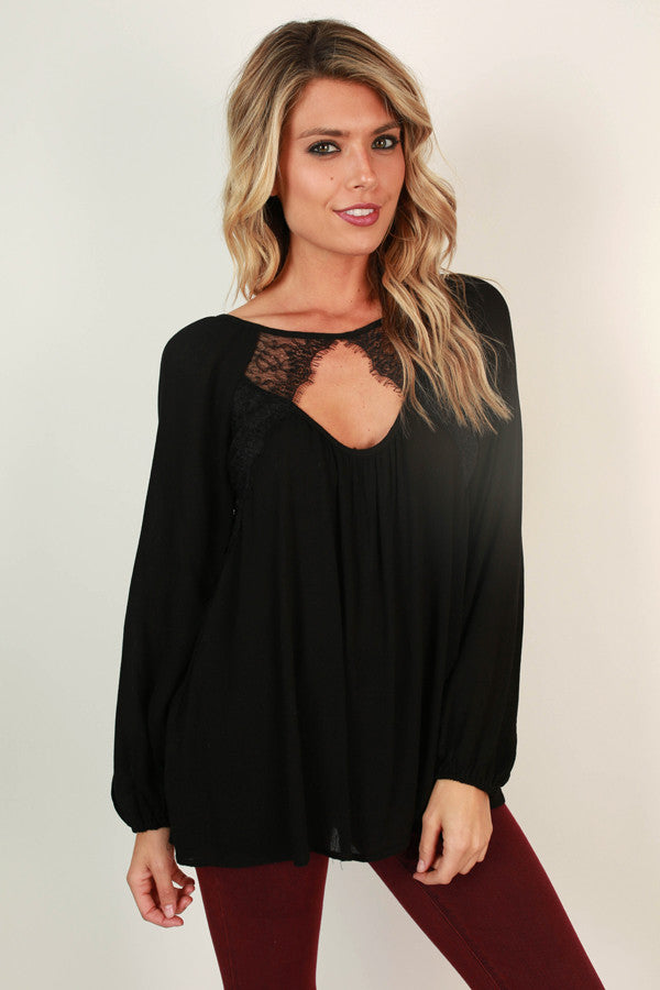 Romance In Soho Shift Top in Black