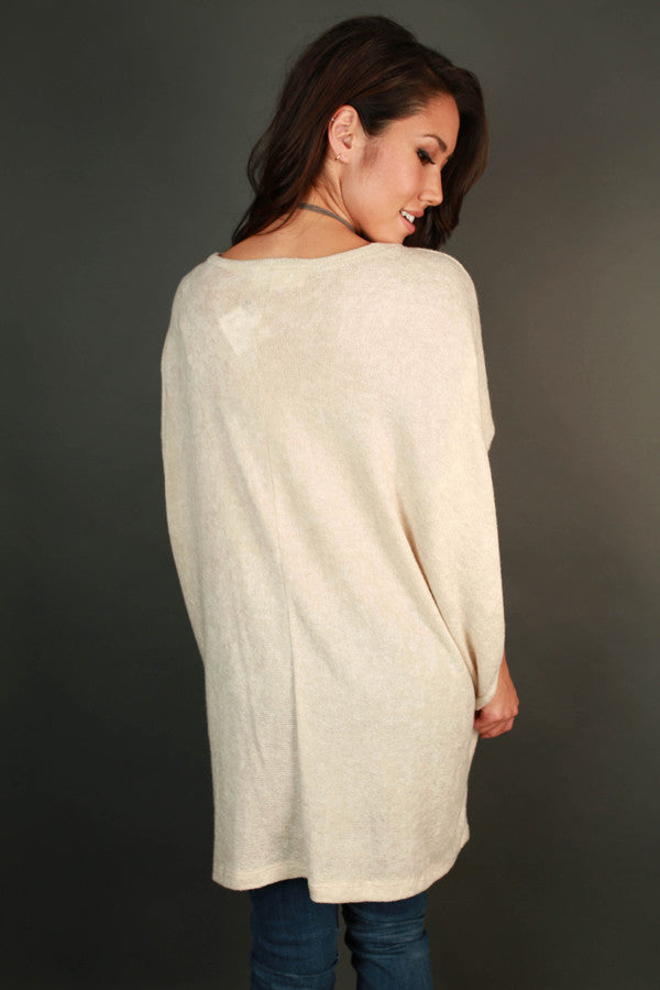 Downtown Denver Tunic Sweater in Stone