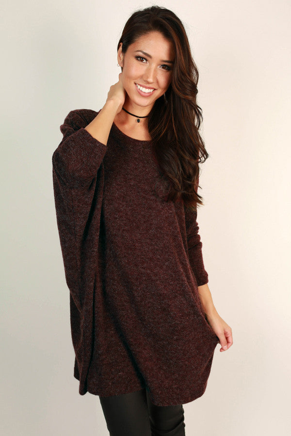 Downtown Denver Tunic Sweater in Maroon
