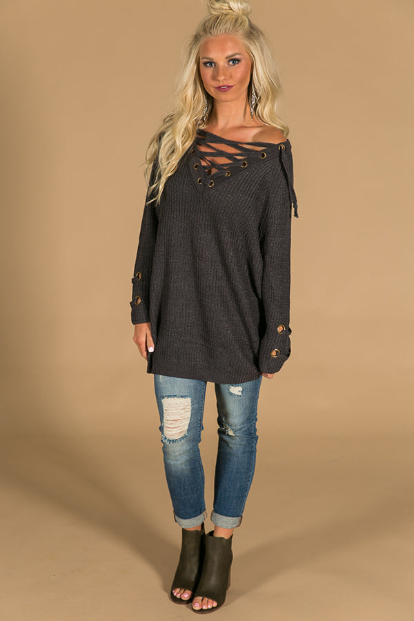 Sugar and Spice Lace Up Sweater in Charcoal
