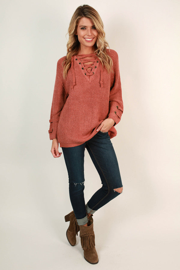 Sugar and Spice Lace Up Sweater in Rustic Rose