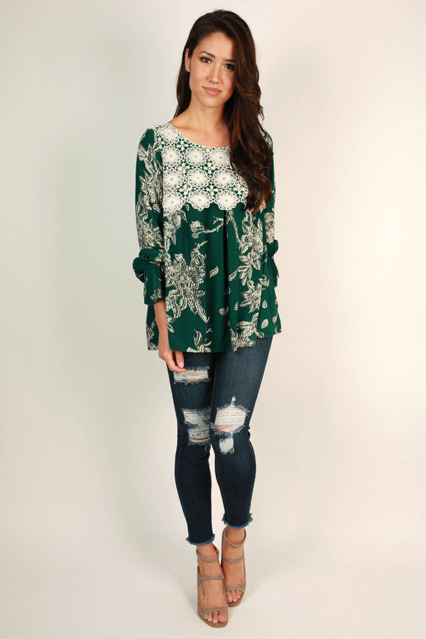 Napa Valley Getaway Top in Dark Emerald