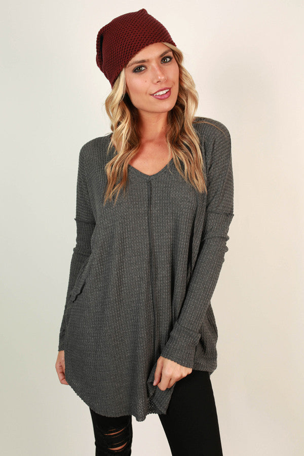 Vail Road Trip Thermal Tunic in Charcoal