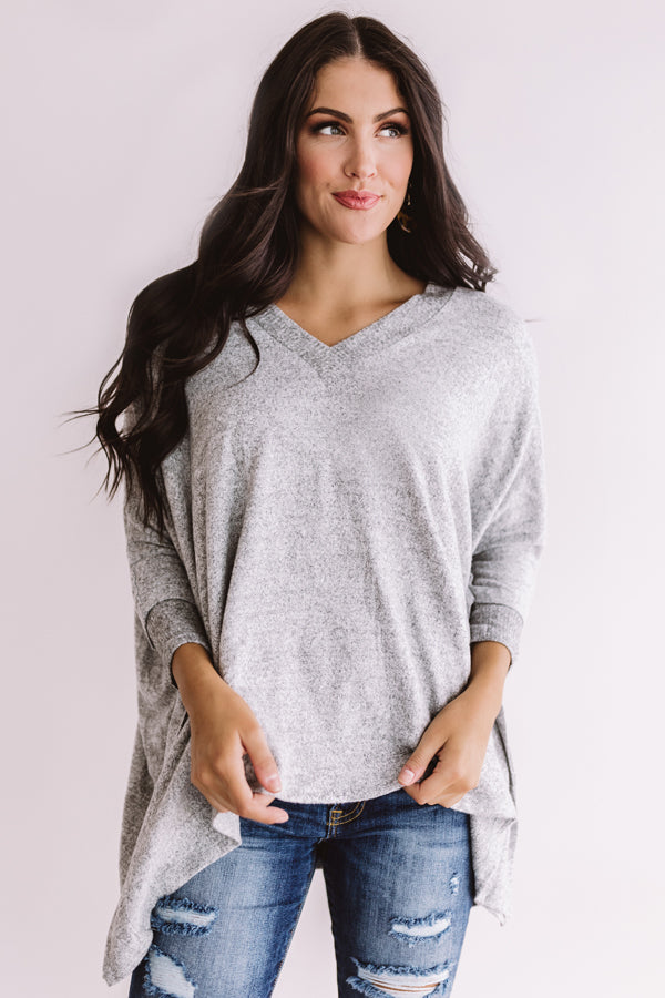 Sky's The Limit Tunic Sweater in Grey