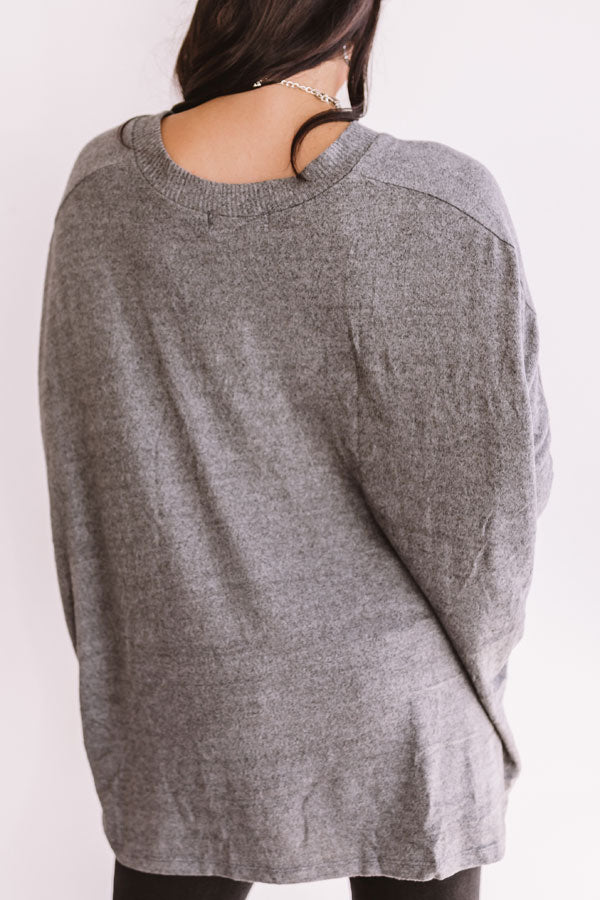 Sky's The Limit Tunic Sweater in Fog
