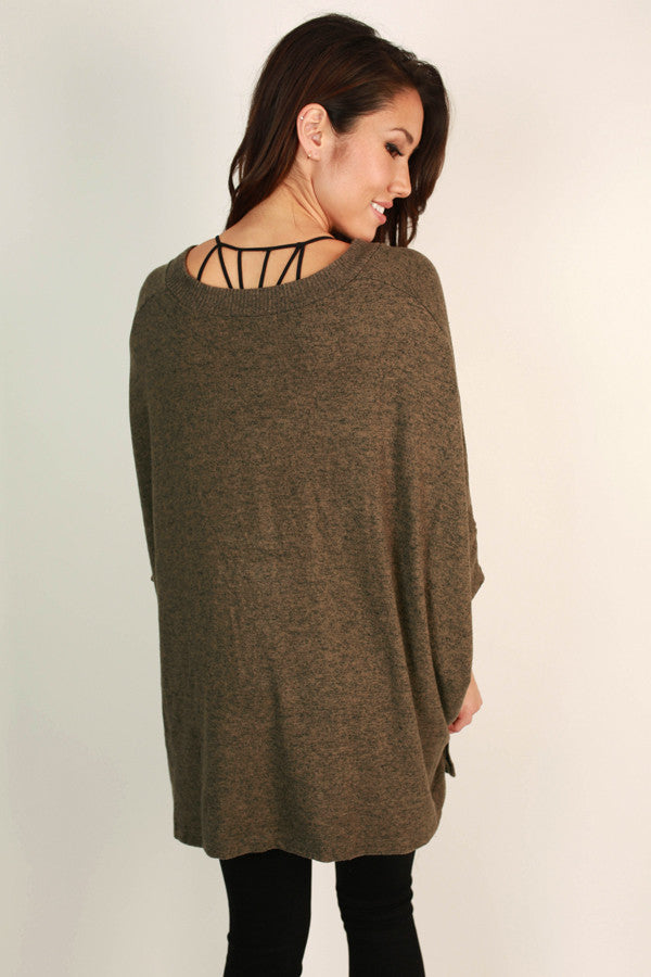 Sky's The Limit Tunic Sweater in Mocha