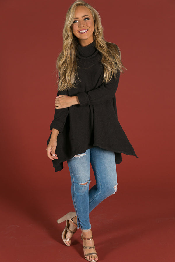 Finding Serendipity Tunic Sweater In Black