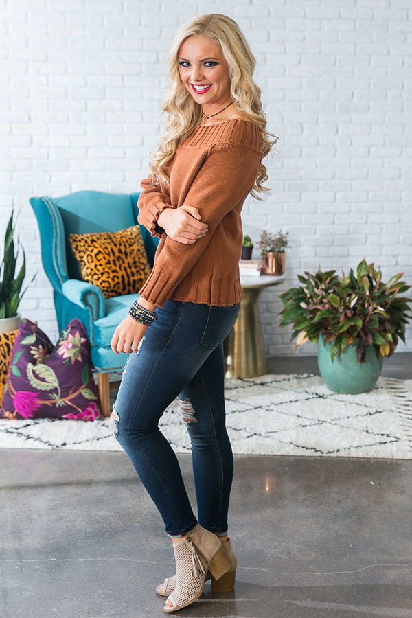 Too Lovely To Leave Off Shoulder Sweater in Camel