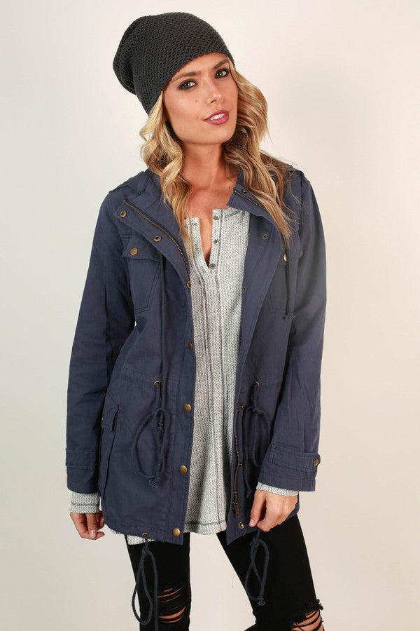 Feeling Social Cargo Jacket in Navy