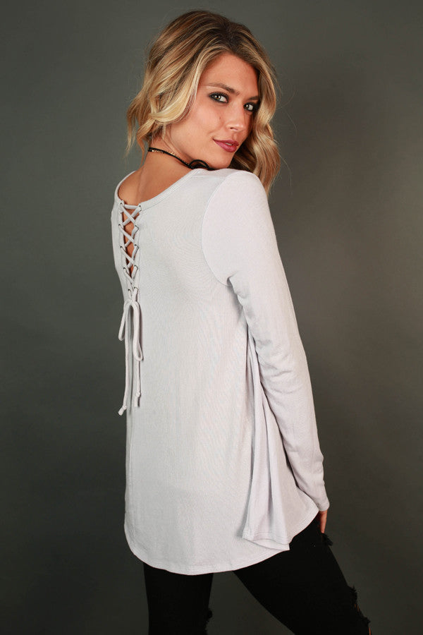 Keepin' it Chill Lace Up Tunic in Moonbeam