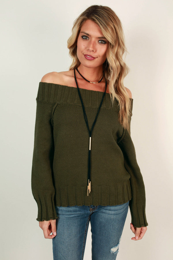 Too Lovely To Leave Off Shoulder Sweater in Army Green
