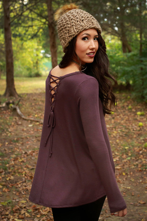 Keepin' It Chill Lace Up Tunic in Royal Plum