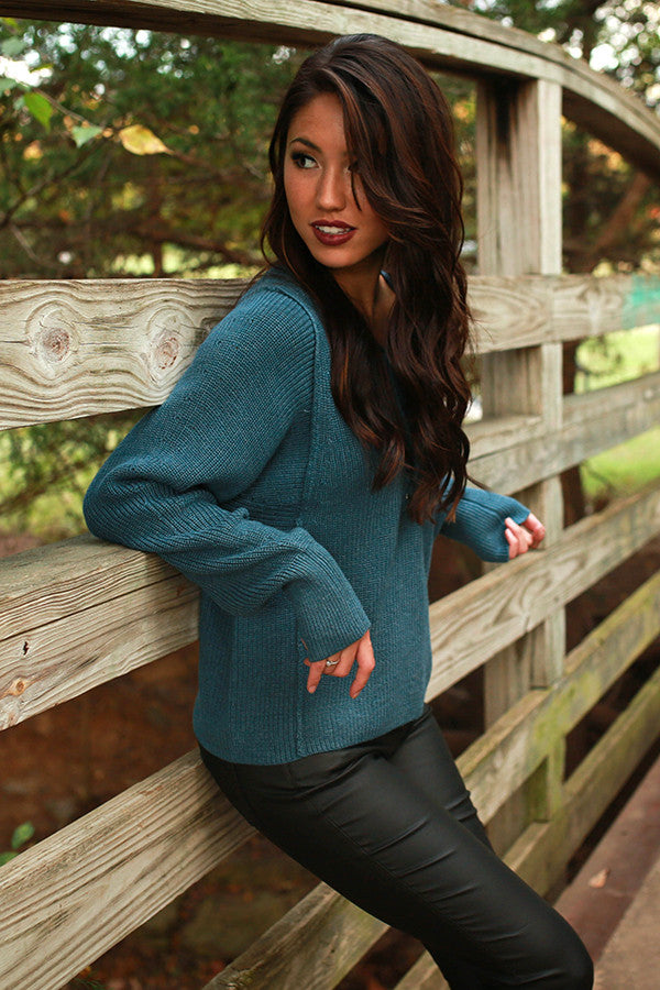 London Love Lace Up Sweater in Riverside