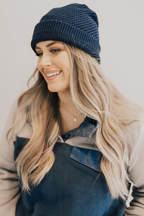 Aspen Afternoon Beanie in Navy