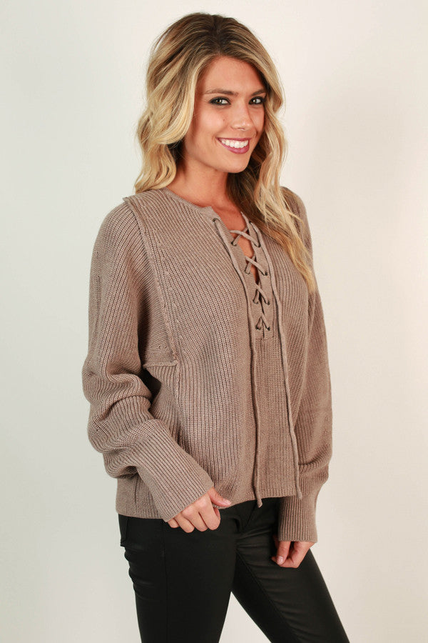 London Love Lace Up Sweater in Taupe
