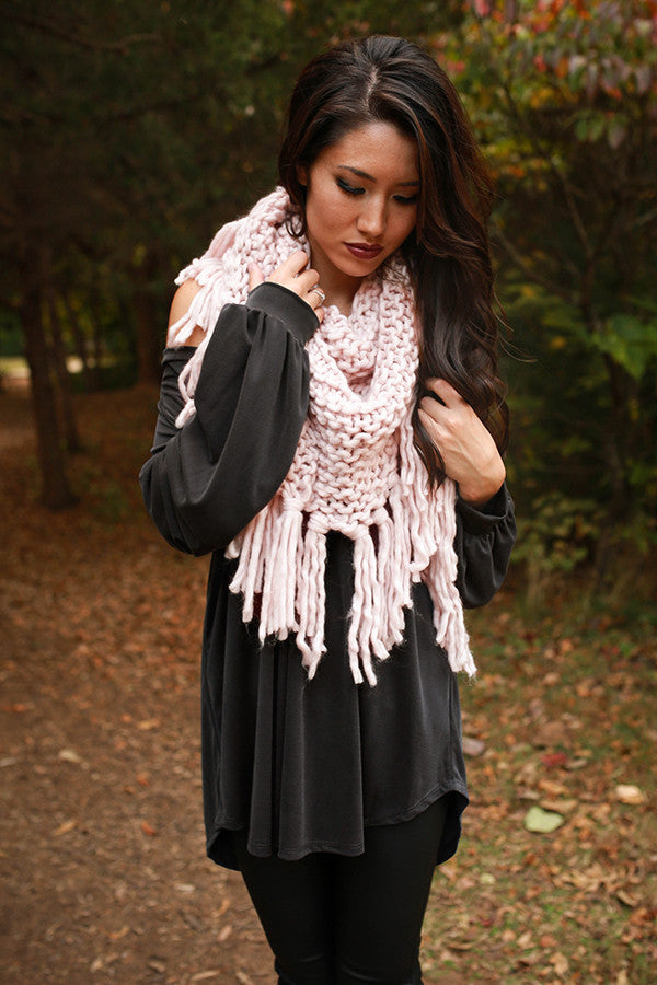 Fall Perfection Scarf in Light Pink