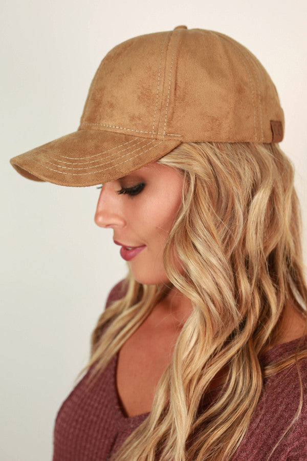 Brunch So Hard Faux Suede Hat in Tan