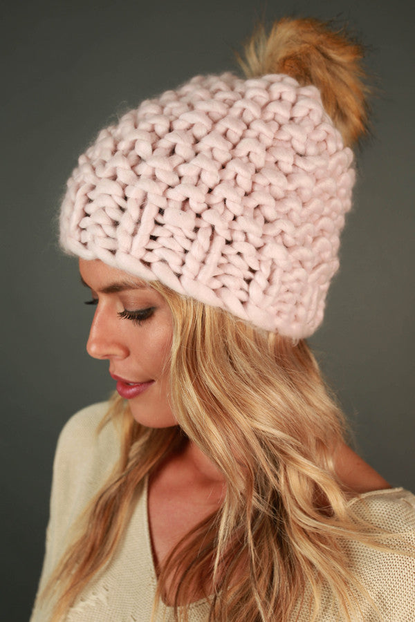 Beauty and The Beanie With Faux Fur Pom in Light Pink