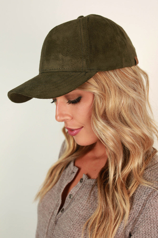 Brunch So Hard Faux Suede Hat in Army Green