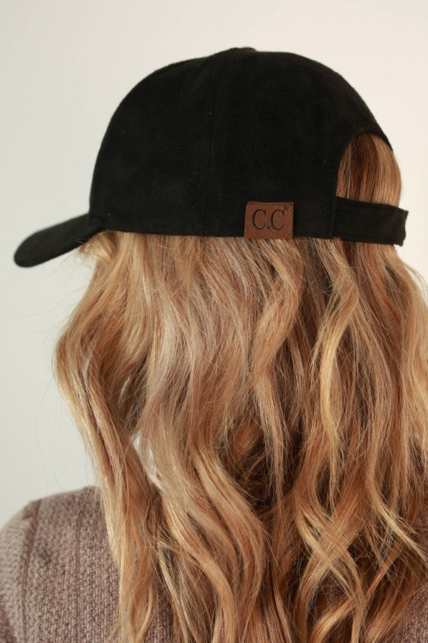 Brunch So Hard Faux Suede Hat in Black