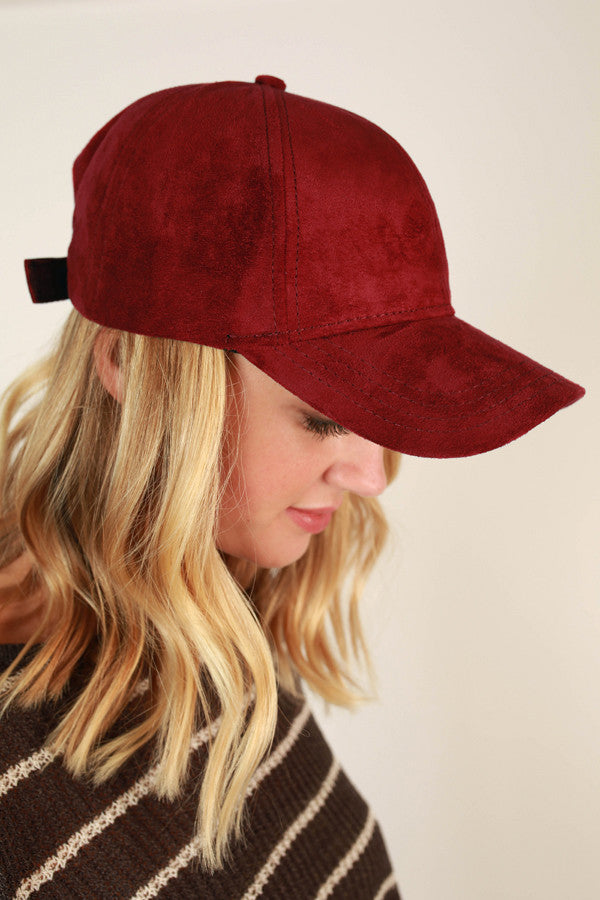 Brunch So Hard Faux Suede Hat in Crimson
