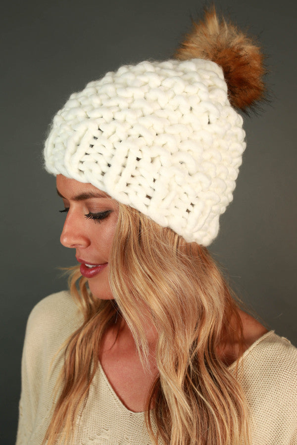 Beauty and The Beanie With Faux Fur Pom in White