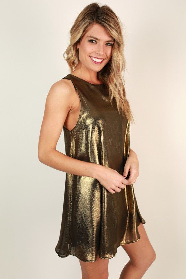 Popping The Bubbly Metallic Shift Dress