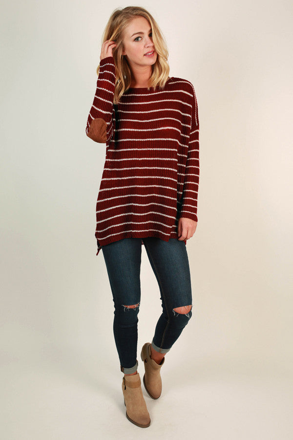 Striped Vacation Elbow Patch Sweater In Wine