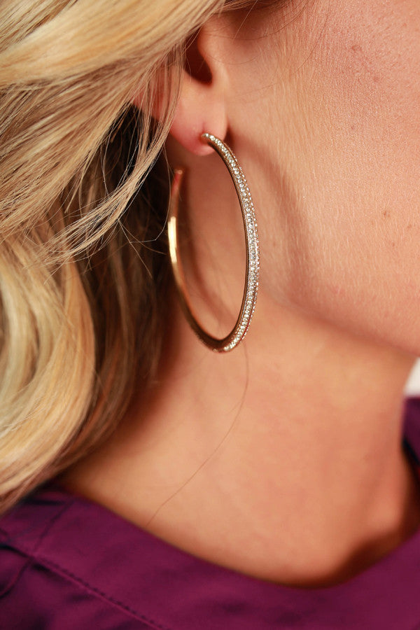 Golden Baby Pave Hoop Earrings