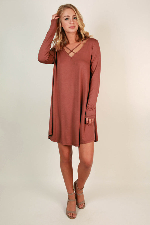 LA Night Life Shift Dress in Rust