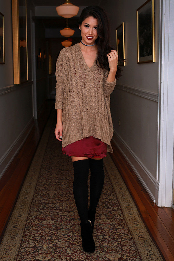 Honey Do Tunic Sweater in Warm Taupe