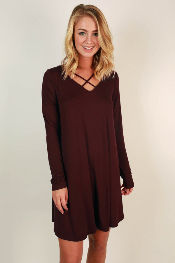 LA Night Life Shift Dress in Maroon