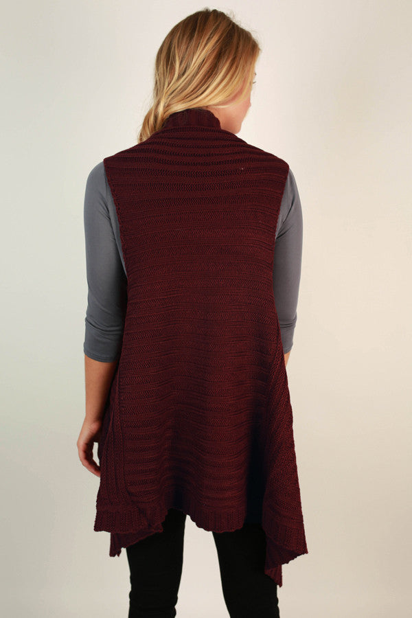 Cabin Comforts Cardigan In Wine