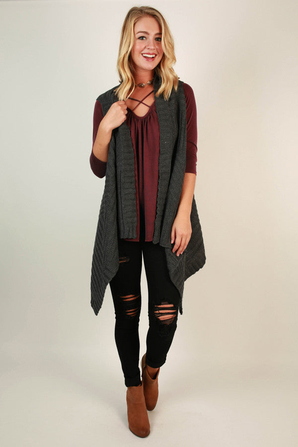 Cabin Comforts Cardigan In Charcoal
