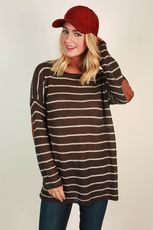 Striped Vacation Elbow Patch Sweater In Fog