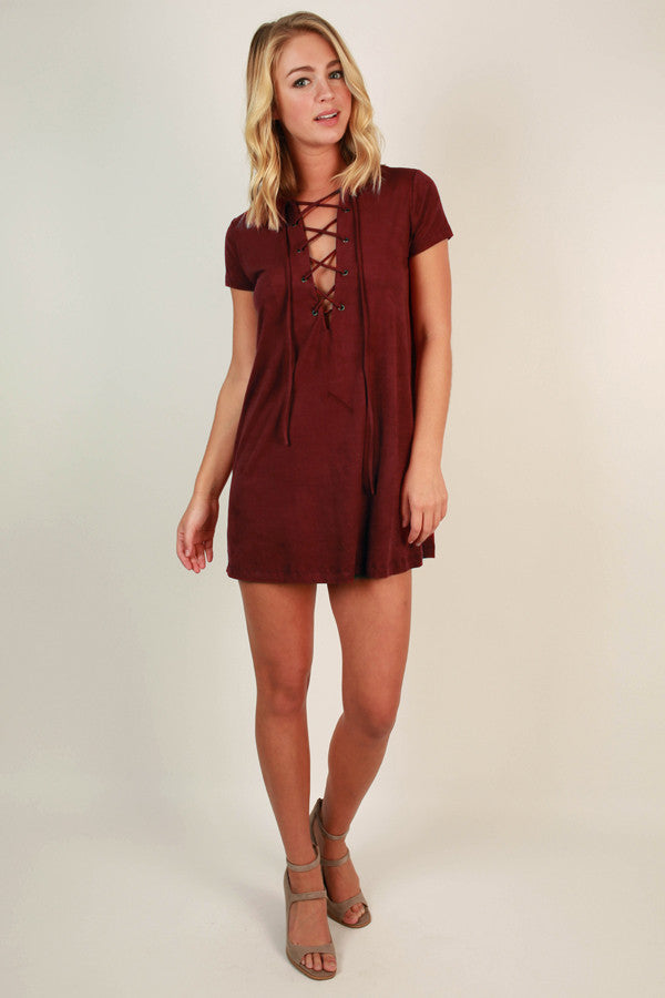 Fall Escape Faux Suede Dress in Crimson